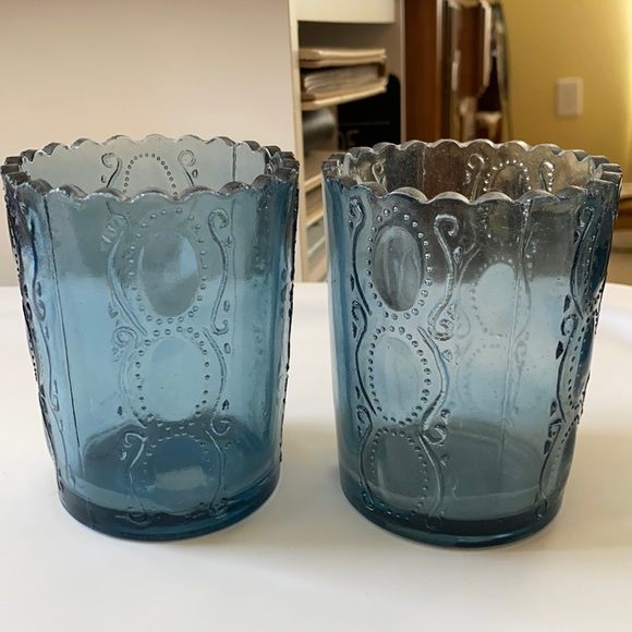 Pottery Barn candle holders.